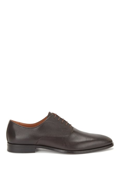 Printed-leather Oxford shoes with stitched details, Dark Brown