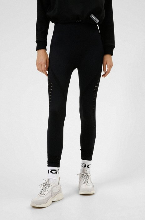 Extra-slim-fit leggings with lace structure, Black