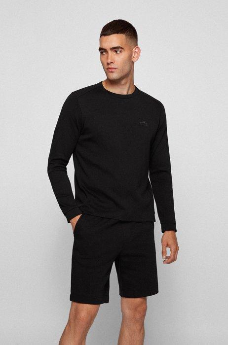 Crew-neck sweatshirt with piqué back panel, Black