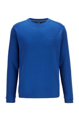 Crew-neck sweatshirt with piqué back panel, Blue