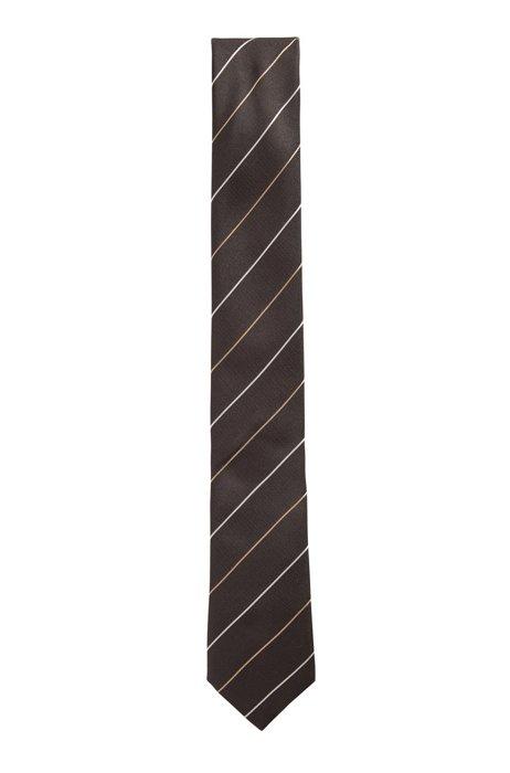 Italian-made diagonal-stripe tie in silk jacquard, Black