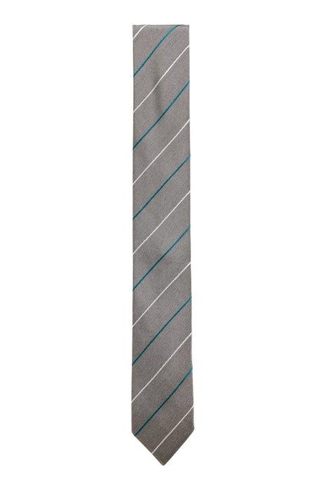Italian-made diagonal-stripe tie in silk jacquard, Silver