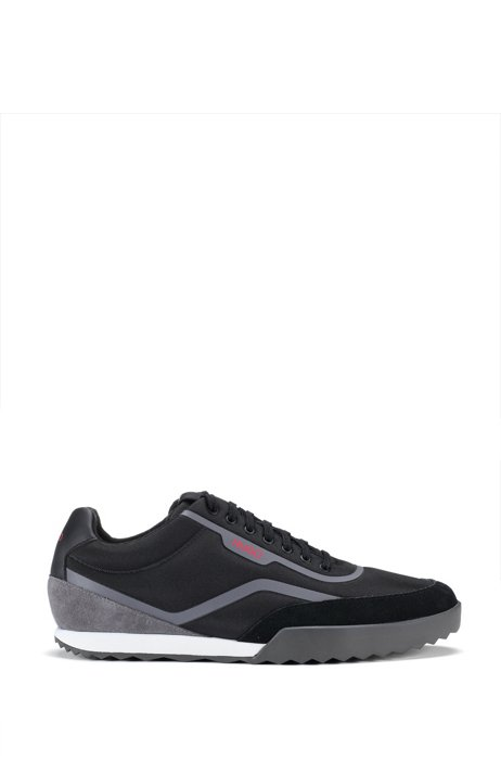 Low-top trainers with mesh and suede uppers, Black