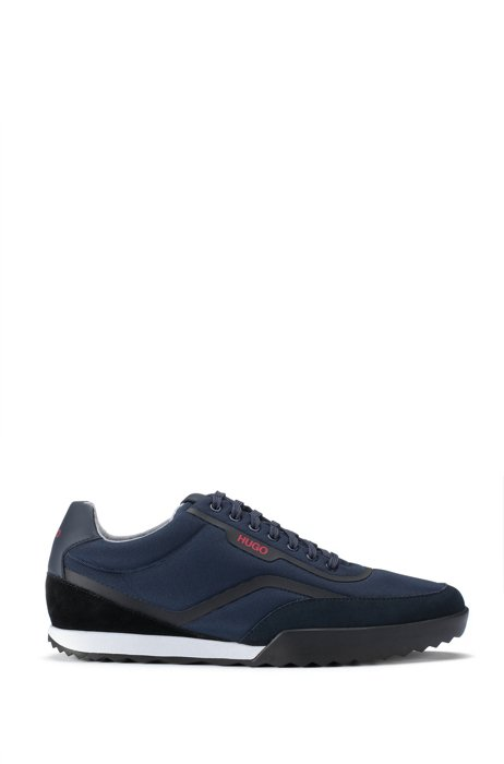 Low-top trainers with mesh and suede uppers, Dark Blue