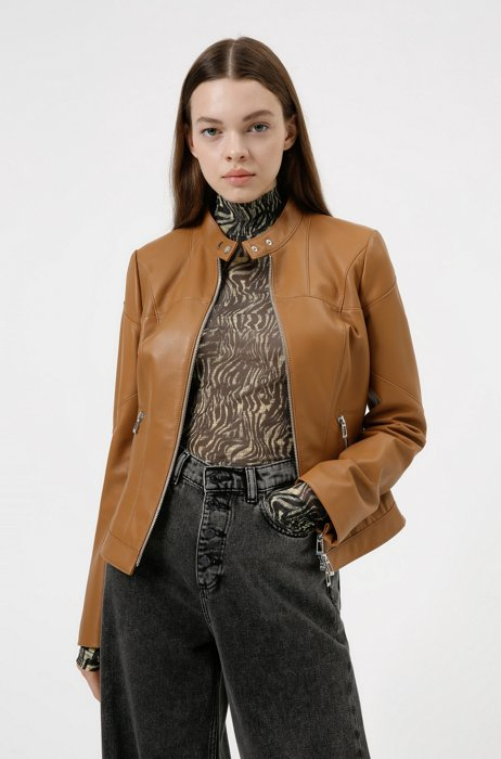 Regular-fit jacket in nappa leather with zipped cuffs, Light Brown