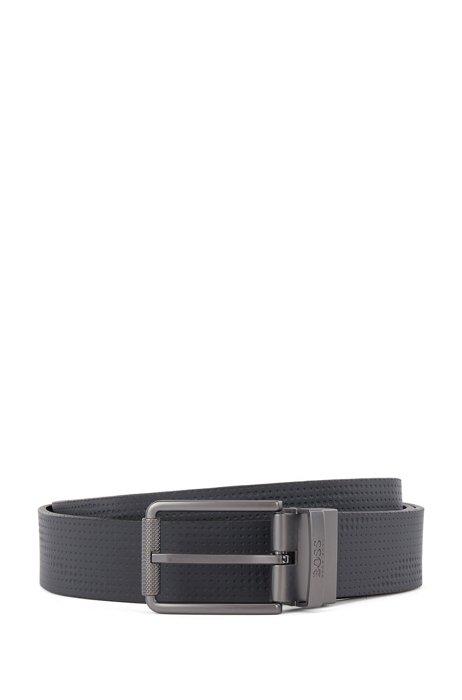 Reversible belt in coated Italian leather, Dark Blue