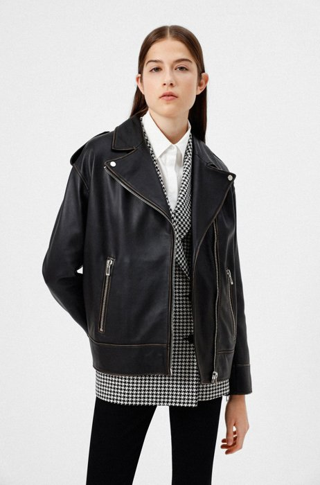 Relaxed-fit biker jacket in leather with asymmetric zip, Black