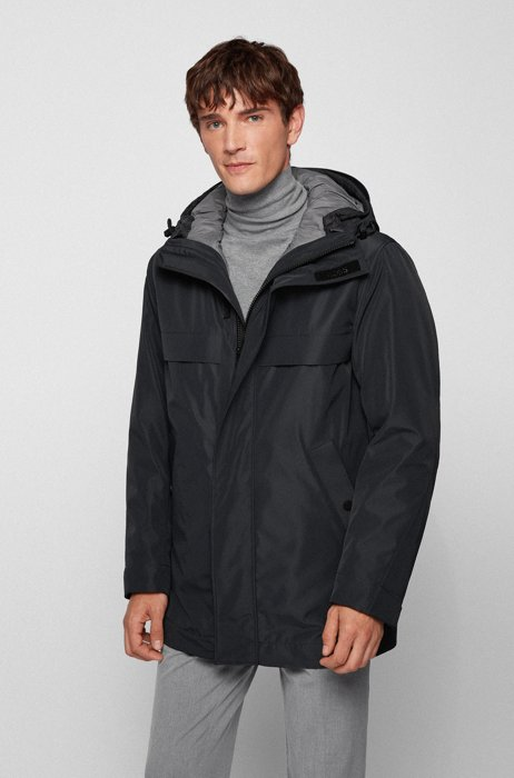 Three-in-one parka jacket with detachable quilted inner, Black