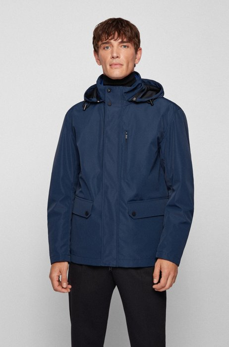 Three-in-one jacket with detachable hood and inner, Dark Blue