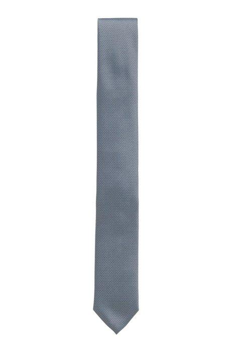 Micro-patterned tie in silk jacquard, Dark Blue