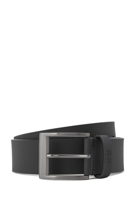 Engraved-buckle belt in textured Italian leather, Black