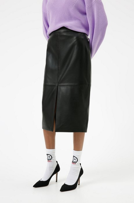 Leather pencil skirt with front slit, Black