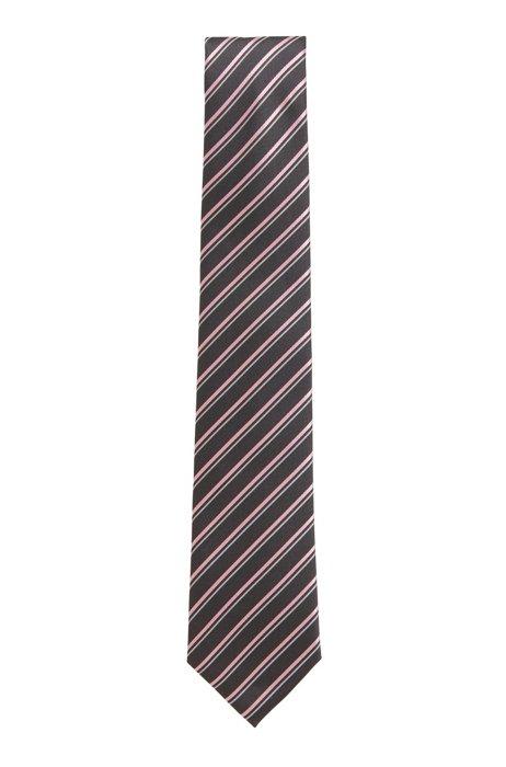 Diagonal-stripe tie in water-repellent silk, Silver