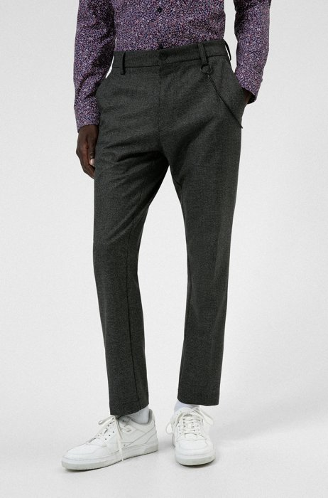 Checked slim-fit chinos in stretch fabric with REPREVE®, Dark Grey