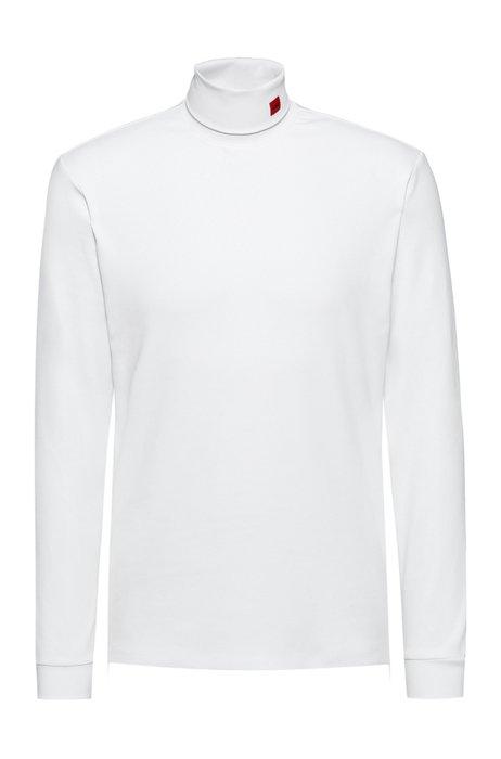 T-shirt à col cheminée en coton stretch avec étiquette logo rouge, Blanc