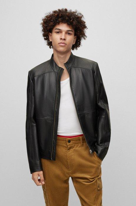 Extra-slim-fit biker jacket in leather, Black