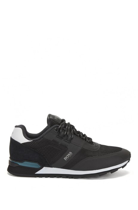 Hybrid trainers in nylon, mesh and leather, Black