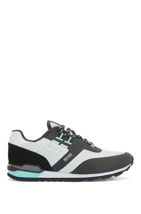 Hybrid trainers in nylon, mesh and leather, Light Grey