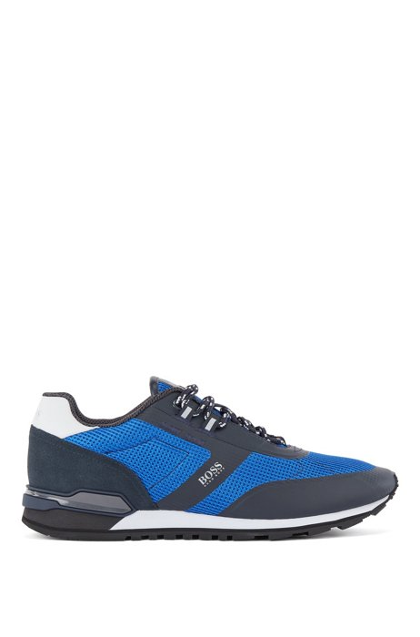 Hybrid trainers in nylon, mesh and leather, Blue