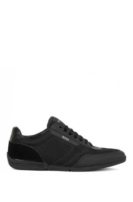 Low-top trainers in mesh with rubberized trims, Black