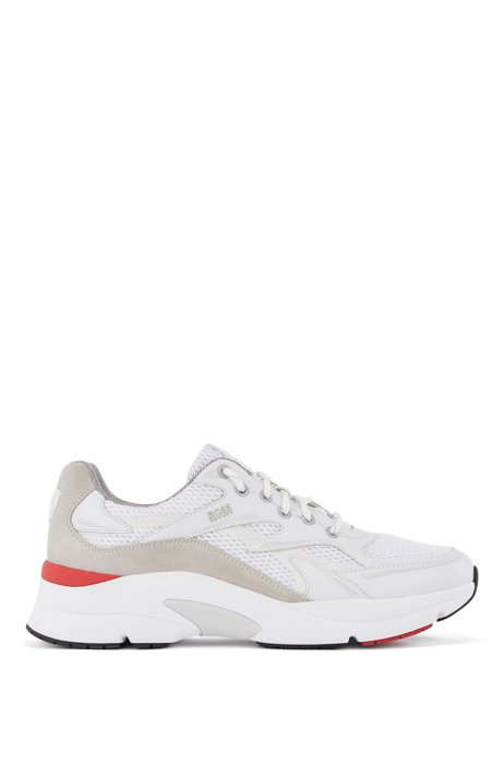 Running-inspired trainers in leather, suede and open mesh, White