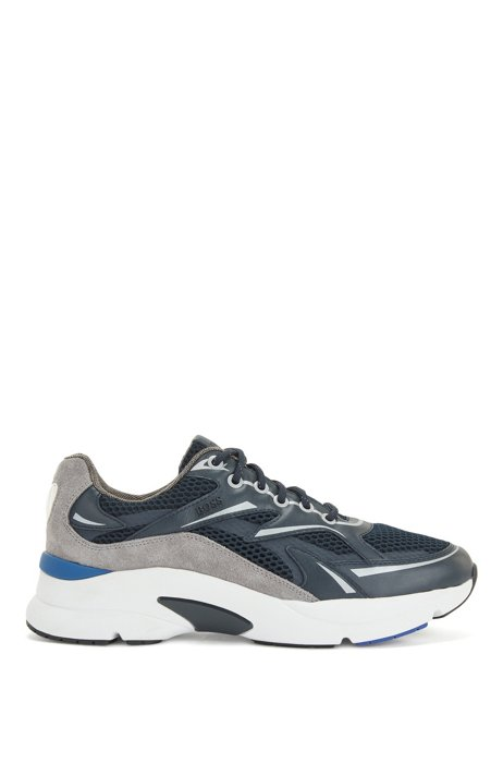Running-inspired trainers in leather, suede and open mesh, Dark Blue