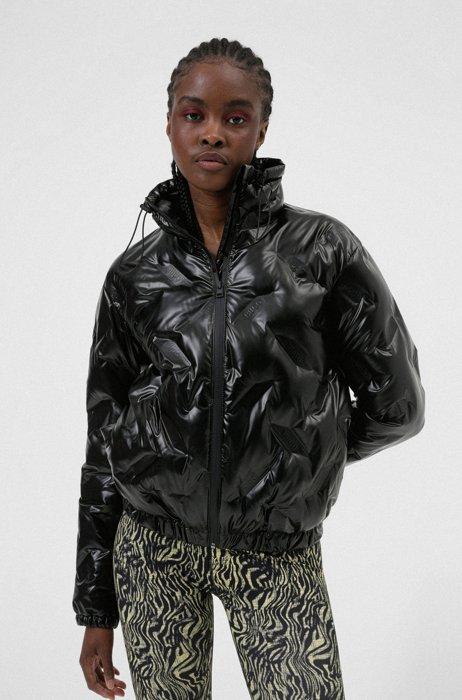 Padded jacket with embossed logos, Black