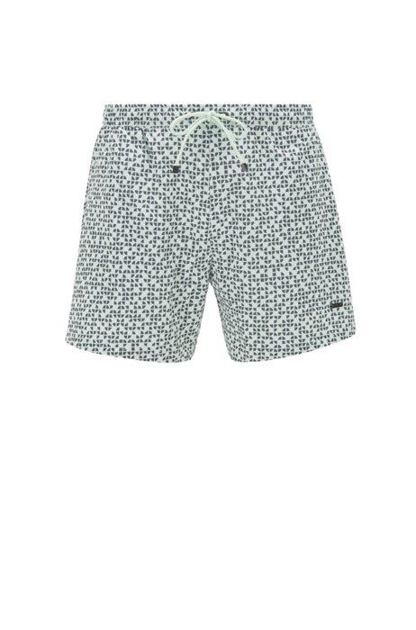 Tile-print swim shorts in quick-drying fabric, Light Green