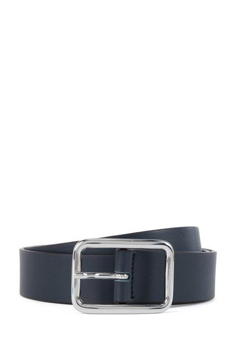 Italian-made belt in nappa leather, Dark Blue