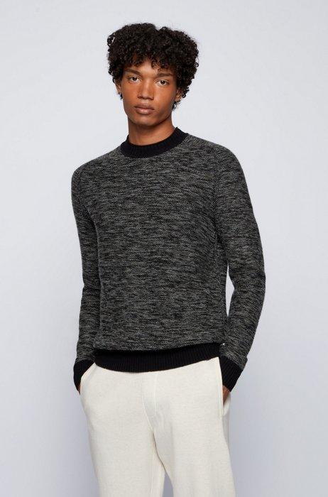 Regular-fit sweater in a mouliné wool blend, Black