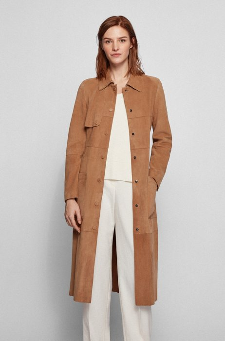 Goat-suede leather coat with covered press-stud buttons, Beige