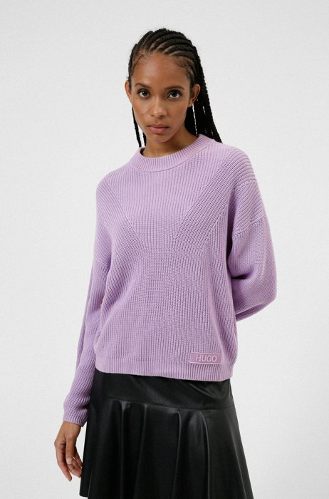 Organic-cotton mixed-knit sweater with logo patch, Purple