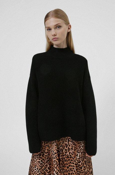Ottoman-ribbed high-neck sweater in superfine merino wool, Black