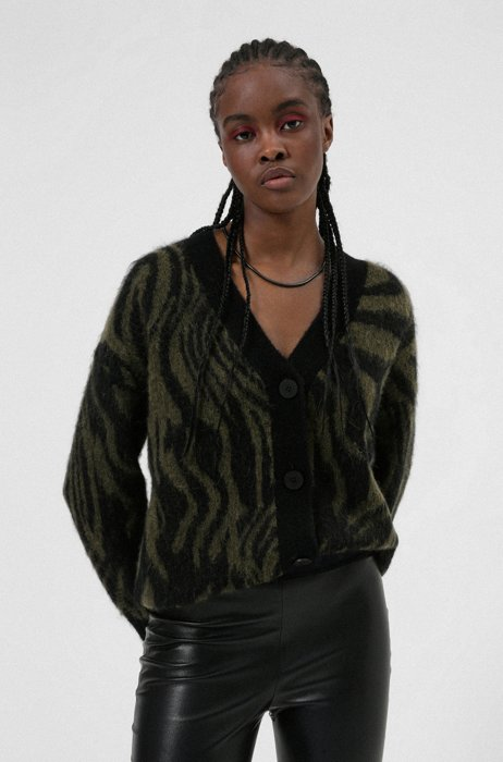 Knitted cardigan with distorted zebra print in relaxed fit, Patterned