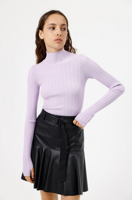 Slim-fit mock-neck sweater with ribbed structure, Purple