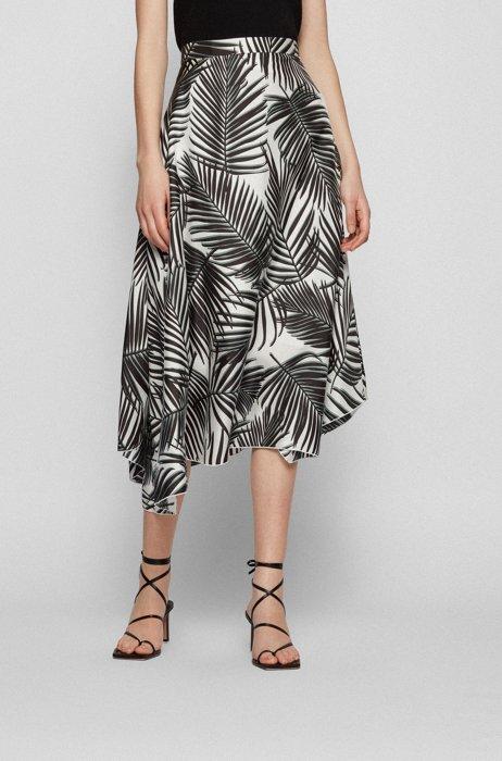 Leaf-print midi skirt in pure silk, Patterned
