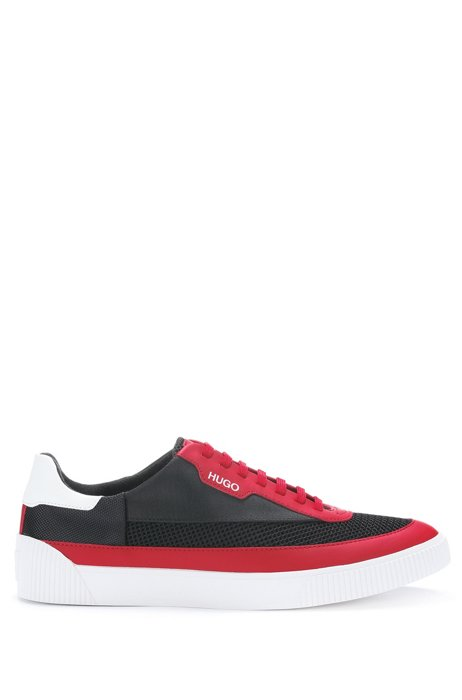 Low-top color-block trainers in mixed materials, Light Red