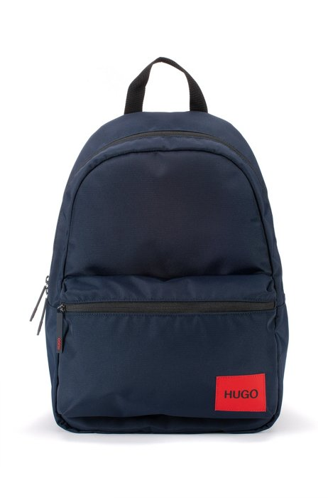 Backpack in recycled nylon with red logo label, Dark Blue