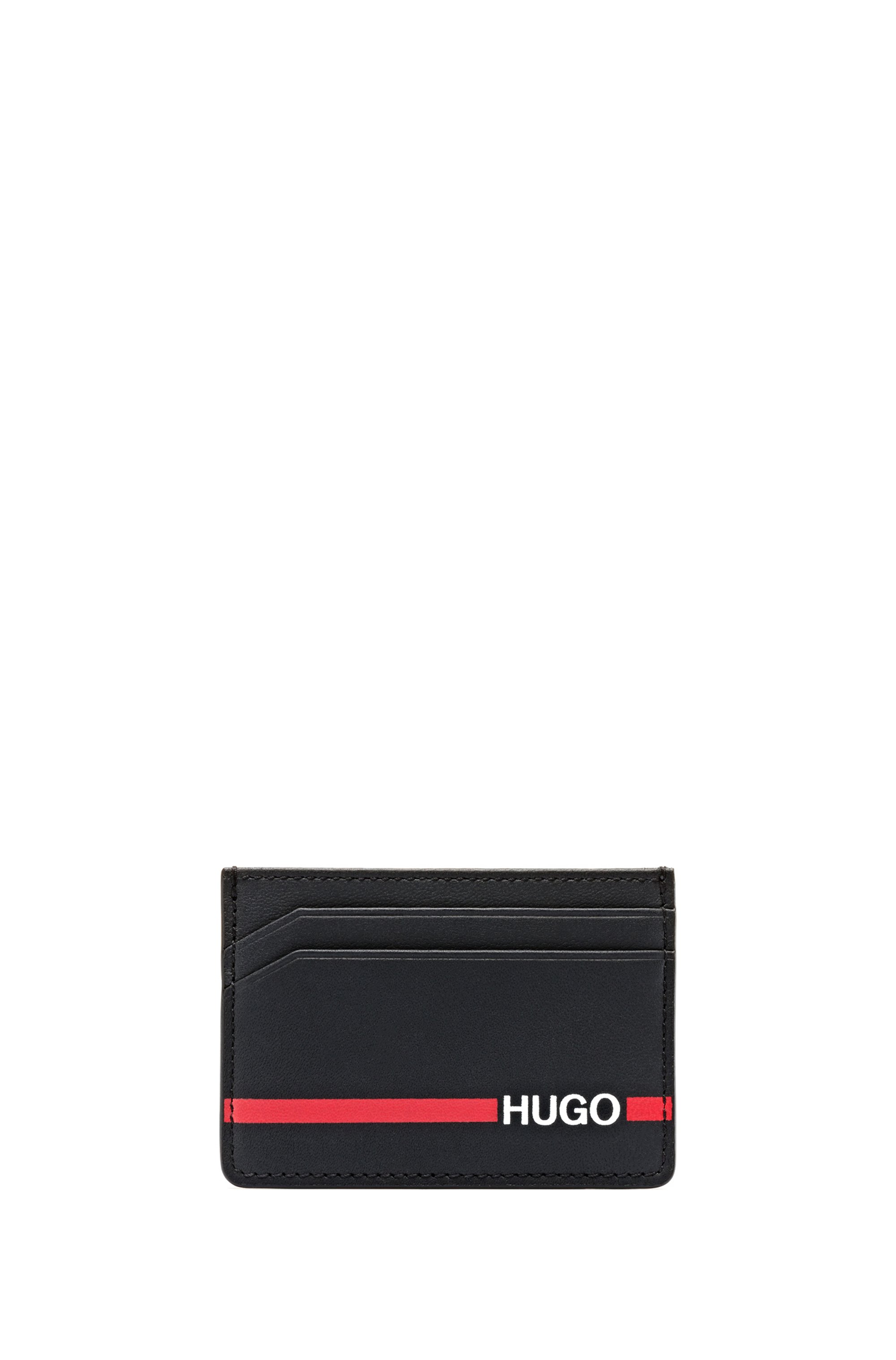 Leather card holder with red-stripe logo, Black