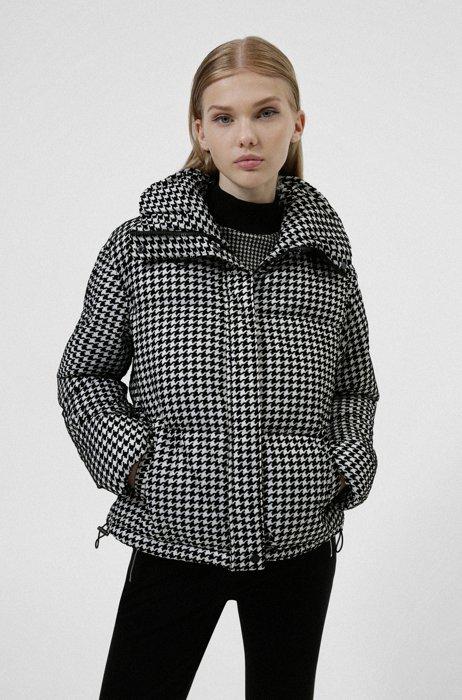 Short padded jacket in flocked houndstooth jacquard, Patterned