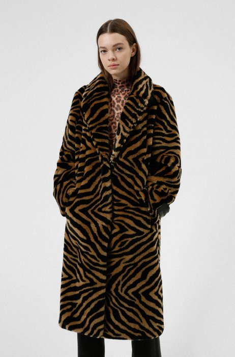 Relaxed-fit teddy coat with zebra print, Patterned
