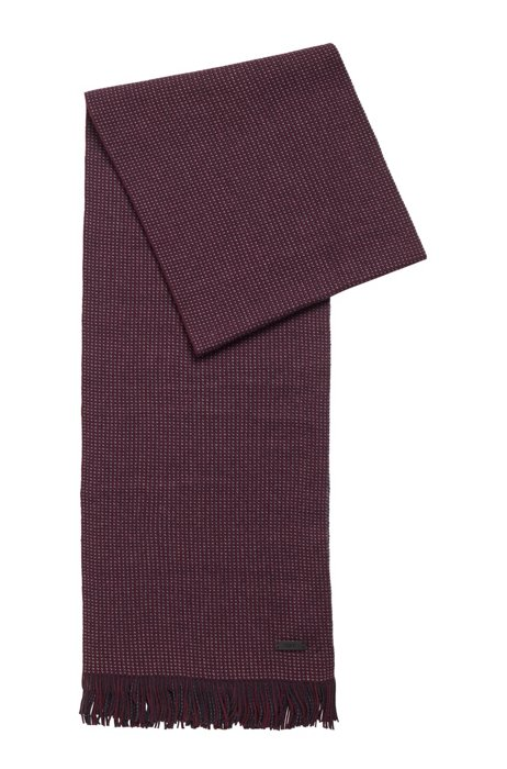 Logo-badge scarf in cotton and wool, Purple