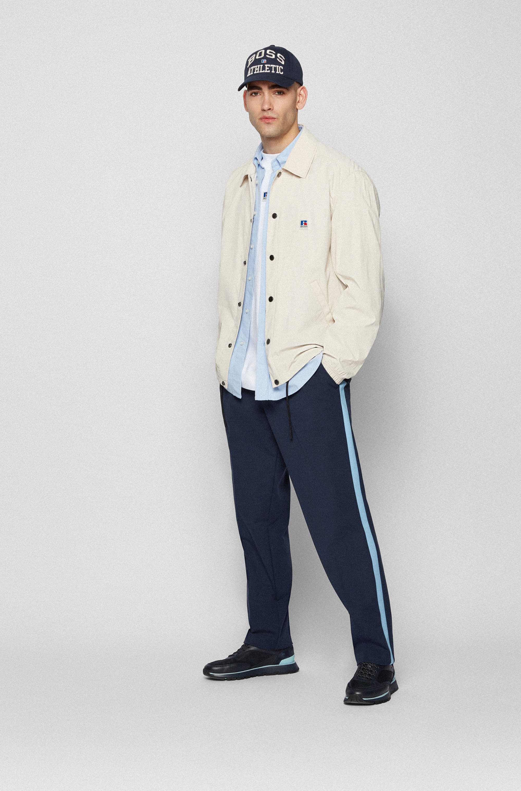Relaxed-fit jacket in coated cotton with exclusive logo