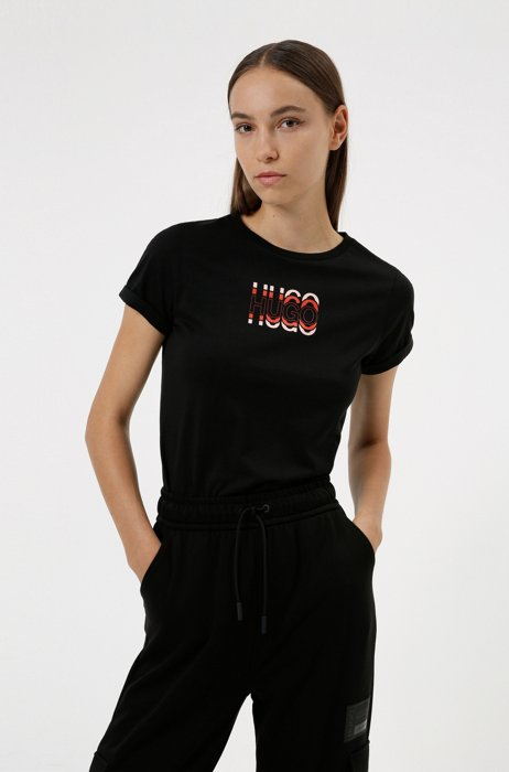 Slim-fit T-shirt in organic cotton with logo print, Patterned