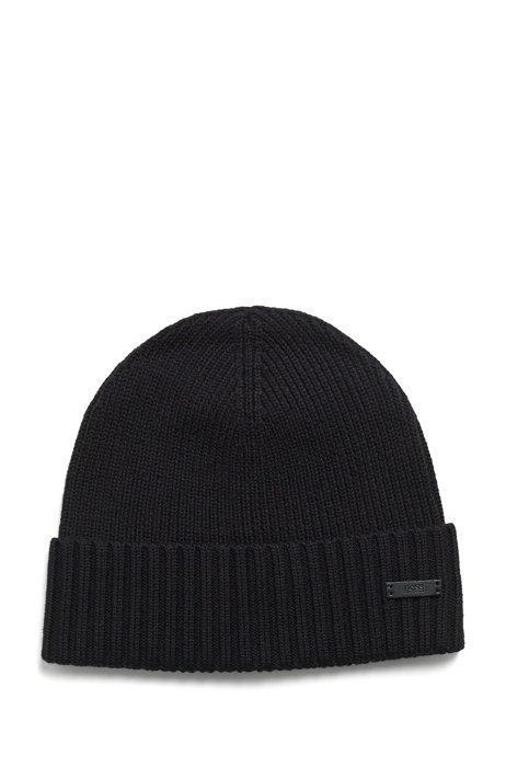 Virgin-wool beanie hat with logo label, Black