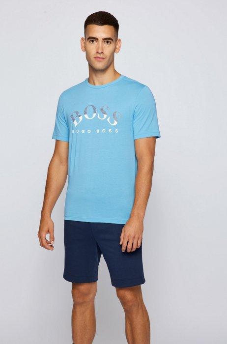 Organic-cotton T-shirt with curved logo print, Light Blue