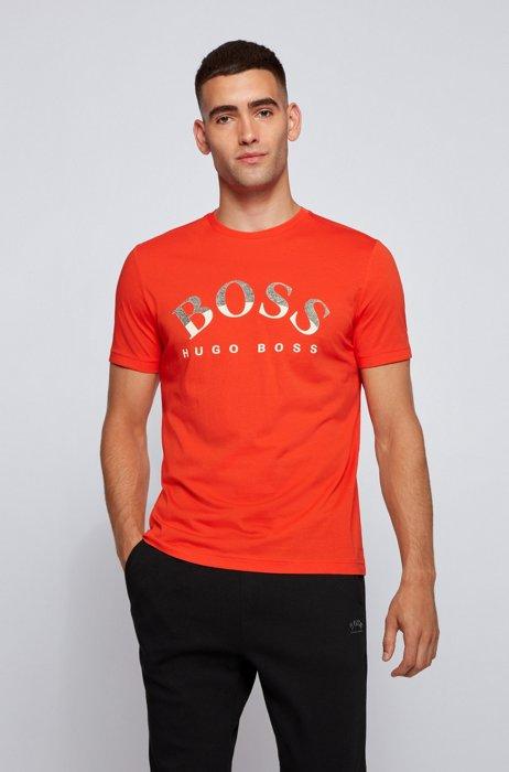 Organic-cotton T-shirt with curved logo print, Orange