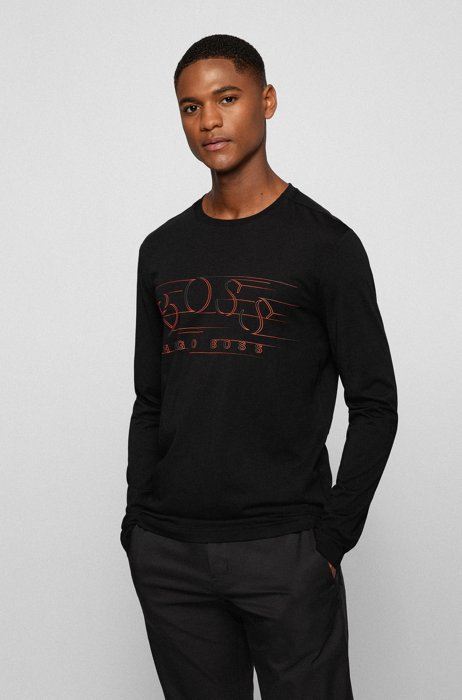 Cotton-jersey T-shirt with curved logo, Black