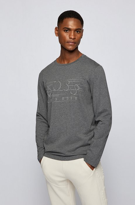 Cotton-jersey T-shirt with curved logo, Grey