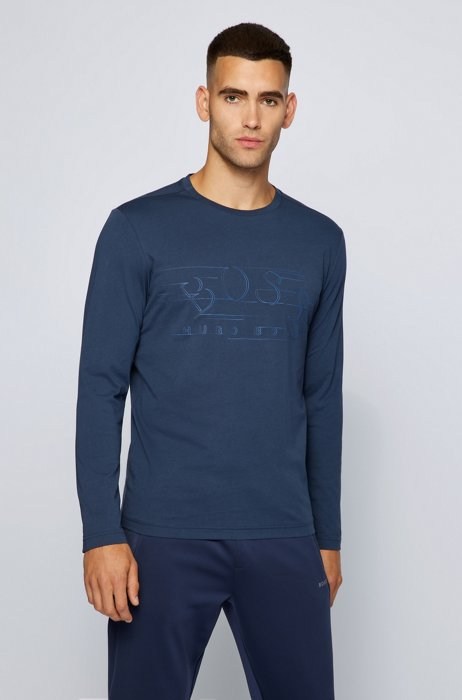 Cotton-jersey T-shirt with curved logo, Dark Blue